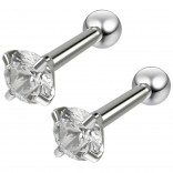 2pc 16g 1/4 Round Stud Earrings For Women Cartilage Studs Cubic Zirconia crystal Piercing Jewelry
