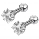2pc 16g 1/4 Square Stud Earrings For Women Cartilage Studs Cubic Zirconia crystal Piercing Jewelry