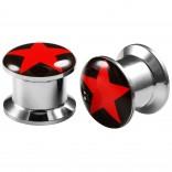 2pcs Internally Threaded Tunnels Screw Red Star Logo Double Flared Plug Ear Gauge Expander 10mm 00g