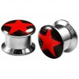 2pcs Internally Threaded Tunnels Screw Red Star Logo Double Flared Plug Ear Gauge Expander 12mm 1/2