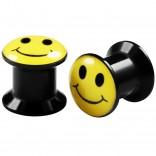 2pcs Internally Threaded Tunnels Screw Smiley Logo Double Flared Plug Ear Gauge Expander 8mm 0g