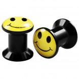2pcs Internally Threaded Tunnels Screw Smiley Logo Double Flared Plug Ear Gauge Expander 6mm 2g
