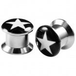 2pcs Internally Threaded Tunnels Screw Star Logo Double Flared Plug Ear Gauge Expander