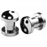 2pcs Internally Threaded Tunnels Screw Ying Yang Logo Double Flared Plug Ear Gauge Expander 6mm 2g