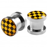2pc 0g Gauge 316L Surgical Steel Flesh Tunnels Cross Checkered Black & Yellow Lobe Stretcher Plugs Ear Stretching Expander