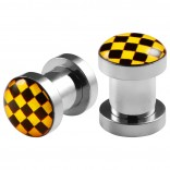 2pc 2g Gauge 316L Surgical Steel Flesh Tunnels Cross Checkered Black & Yellow Lobe Stretcher Plugs Ear Stretching Expander