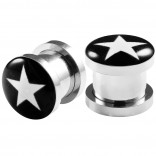 2pc 00g Gauge 316L Surgical Steel Flesh Tunnels White Star Lobe Stretcher Plugs Ear Stretching Expander