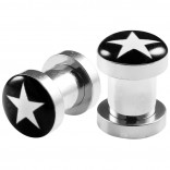 2pc 2g Gauge 316L Surgical Steel Flesh Tunnels White Star Lobe Stretcher Plugs Ear Stretching Expander