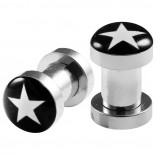 2pc 4g Gauge 316L Surgical Steel Flesh Tunnels White Star Lobe Stretcher Plugs Ear Stretching Expander