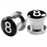 2pc 0g Gauge 316L Surgical Steel Flesh Tunnels 8 Ball Lobe Stretcher Plugs Ear Stretching Expander