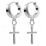 2pc 20g Cross Huggie Hoop Earrings Dangle Surgical Stainless Steel Men For Women Clutch Flat Huggy