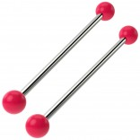 2pc Pink Industrial Barbell 14g Cartilage Earrings Piercing Jewelry 38mm Bar Fancy Acrylic Balls