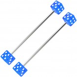 2pc 14g Industrial Barbell Dice 35mm Cartilage Earrings Piercing Bars Blue 1 3/8 Jewelry Piercing