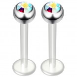 2pc 14g Aurora Borealis Bioplast Labret Flexible Lip Stud Clear BioFlex Hypoallergenic Jewelry 12mm