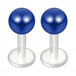 2pc 14g Bioflex Labret Blue 14 Gauge 6mm 1/4 Bioplast Plastic Monroe Piercing Jewelry Lip Studs