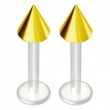 2pc 14g Bioflex Labret Gold 14 Gauge 10mm 3/8 Bioplast Spike Monroe Piercing Jewelry Lip Studs