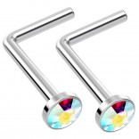 2pc L Shaped Nose Ring 18g 1mm 7mm Flesh Nostril Screw Nose Ring Crystal Hypoallergenic 316LVM Surgical Steel Stud Piercing Jewelry Aurora Borealis