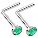 2pc L Shaped Nose Ring 18g 1mm 7mm Flesh Nostril Screw Nose Ring Crystal Hypoallergenic 316LVM Surgical Steel Stud Piercing Jewelry Emerald