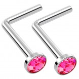 2pc L Shaped Nose Ring 18g 1mm 7mm Flesh Nostril Screw Nose Ring Crystal Hypoallergenic 316LVM Surgical Steel Stud Piercing Jewelry Rose