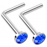 2pc L Shaped Nose Ring 18g 1mm 7mm Flesh Nostril Screw Nose Ring Crystal Hypoallergenic 316LVM Surgical Steel Stud Piercing Jewelry Sapphire