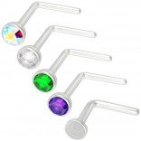 5pc L-Shaped Nose Ring 20g Crystal Bioflex Clear Studs Bend Retainer Nostril Ring 2.5mm