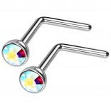 2pc 20g Surgical Stainless Steel L-Shaped Nose Ring AB Flat Cute Hoop 20 Gauge Stud CZ crystal Gem