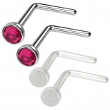 4pc 20g 0.8mm Nose Rings L-Shaped Nose Ring Surgical Steel Flexible Bend Shape Studs Nostril Piercing 2.5mm Fuchsia Retainers