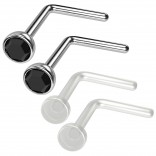 4pc 20g 0.8mm Nose Rings L-Shaped Nose Ring Surgical Steel Flexible Bend Shape Studs Nostril Piercing 2.5mm Jet Retainers