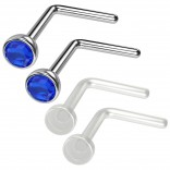 4pc 20g 0.8mm Nose Rings L-Shaped Nose Ring Surgical Steel Flexible Bend Shape Studs Nostril Piercing 2.5mm Sapphire CZ Retainers