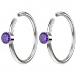 2pc 20g Crystal Fake Nose Clips 8mm Hoop Ring Hypoallergenic Stainless Steel CZ Amethyst