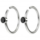 2pc 20g Crystal Fake Nose Clips 8mm Hoop Ring Hypoallergenic Stainless Steel Jet CZ Gems