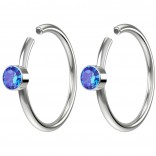 2pc 20g Crystal Fake Nose Clips 8mm Hoop Ring Hypoallergenic Stainless Steel CZ Sapphire