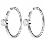 2pc 20g Crystal Fake Nose Clips Gem Hoop Ring Hypoallergenic Surgical Stainless Steel 8mm