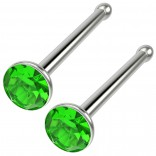 2pc 18g Straight CZ Nose Bone Studs Crystal Green Perdiot Straight Pin Stud Piercing Rings