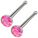 2pc 18g Straight CZ Nose Bone Studs Crystal Rose Pink Straight Pin Stud Piercing Rings