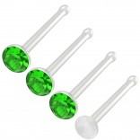 4pc 20g 0.8mm Nose Studs Bone Straight Bar Nostril Ring Surgical Steel 2.5mm Crystal Peridot Bioflex Stud Retainer