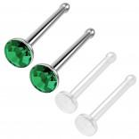 4pc 18g 1mm Nose Stud Bone Straight Bar Nostril Ring Surgical Steel 2.5mm Crystal Blue Bioflex Stud 20g 0.8mm Retainer