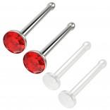 4pc 18g 1mm Nose Stud Bone Straight Bar Nostril Ring Surgical Steel 2.5mm Crystal Light Siam Bioflex Stud 20g 0.8mm Retainer