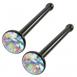2pc 18g Straight CZ Nose Bone Studs 2mm Crystal AB Aurora Borealis Black Piercing Jewelry