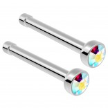 2pc Surgical Steel Guage Nose Stud Ring 18g 1mm Flesh Nostril Straight Pin Crystal Piercing Jewelry AB Aurora Borealis