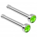 2pc Surgical Steel Guage Nose Stud Ring 18g 1mm Flesh Nostril Straight Pin Crystal Piercing Jewelry Peridot