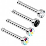 2pc Surgical Steel Guage Nose Stud Ring 18g 1mm Flesh Nostril Straight Pin Crystal Piercing Jewelry - AB Aurora Borealis Jet CZ