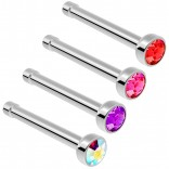 2pc Surgical Steel Guage Nose Stud Ring 18g 1mm Flesh Nostril Straight Pin Crystal Piercing Jewelry Various Colors