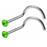 2pc 20g Nose Screw Crystal Peridot Green Surgical Stainless Steel 2.5mm Twist Nostril Stud
