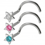 3pc 20g Star Nose Screw Ring Surgical Stainless Steel Corkscrew Studs Crystal CZ Twist Hoop Gauge