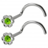2pc 20g Flower Nose Screw CZ Peridot rystal Stainless Steel Corkscrew Nostril Rings Piercing Jewelry