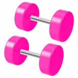 2pc 2 Guage Pink Cheater Plugs 2g Fake Stretched Ears 16g Illusion Earrings For Women 8mm Piercing Jewelry