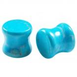 2pc Organic Turquoise Stone Double Flared Saddle Plug 00g (10mm) Gauge Earring Tunnel Ear Lobe Stretcher Piercing Jewelry
