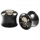 2pc Double Flared 1/2 Plugs Ear Gauges Skull Acrylic Unisex Earrings Stretcher Flesh Expander