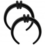 2pc Septum Pincher Buffalo Taper Horseshoe Black Double Rubber O-Rings Crescent C-Shape Tapers 14g